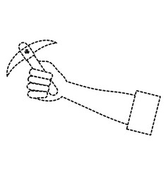 hand human with pick mine tool icon vector image