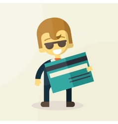 man showing credit card vector image