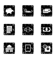 Money icons set grunge style vector
