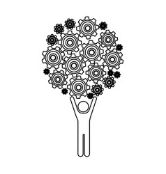 Monochrome contour of man holding up pinions set vector