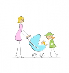 mother and kids vector image