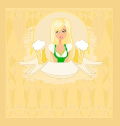 Oktoberfest waitress card vector