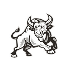 Raging Bull Attacking Charging Woodcut vector image vector image