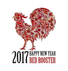 Red rooster symbol of 2017 on the chinese vector