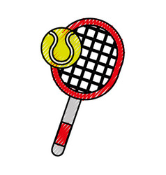 Scribble tennis racket and ball cartoon vector