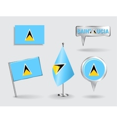 Set of saint lucia pin icon and map pointer flags vector