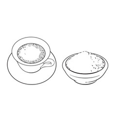 sketch bowl of powder cup of mathca tea vector image vector image