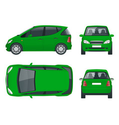 Small compact electric vehicle or hybrid car eco vector