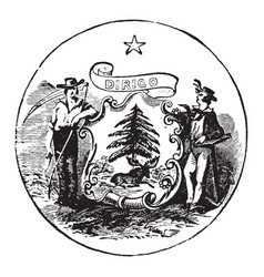 The official seal of the us state of maine in vector