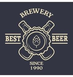 Two bottles of beer Vintage emblem vector image vector image