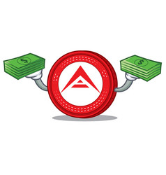 With money ark coin mascot cartoon vector