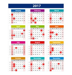 2017 calendar holidays usa - template of color vector