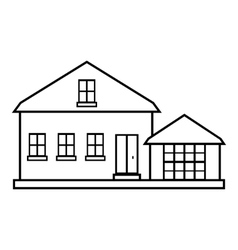 Suburban american house icon outline style vector