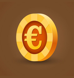 Gold coin of euro isolated on dark background vector