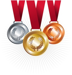 Gold silver and bronze medals with ribbon vector