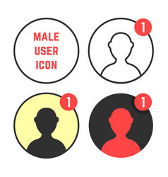 Set of male user icons vector