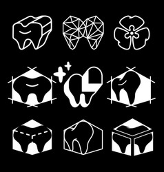 Silhouettes icon of teeth for dental clinic logo vector