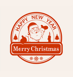 print impression with the silhouette of santa vector image