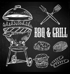 hand drawn bbq and grill design elements grilled vector image