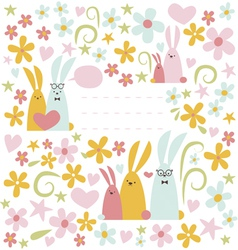 Spring design with rabbits vector