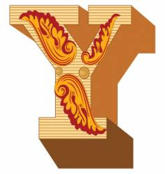 3d vintage letter y vector image vector image