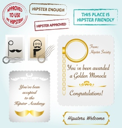 Hipster collection stamps diploma certificate vector