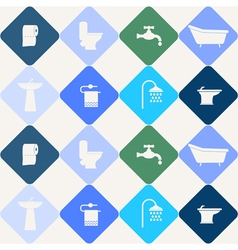Seamless background with bathroom icons vector