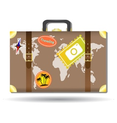 Traveling bag with stickers and world map vector
