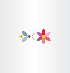Bee and flower symbol vector