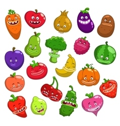 Funny cartoon fruits and vegetables characters vector
