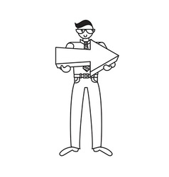 Employee with big arrow in hands vector