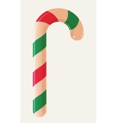 Christmas candy cane isolated on white background vector