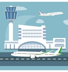 The of airport terminal vector