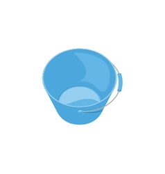 Blue glossy plastic bucket on white background vector