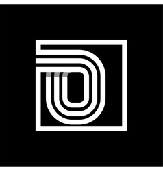 O capital letter made of stripes enclosed in a vector