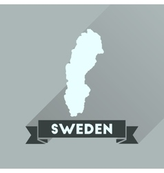 Flat icon with long shadow sweden map vector