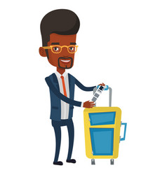 African-american business man showing luggage tag vector