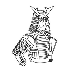animation samurai man to ancient clothes wearing vector image
