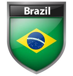Brazil flag on badge design vector