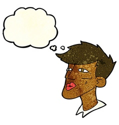 Cartoon male model guy with thought bubble vector