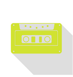 Cassette icon audio tape sign pear icon with vector