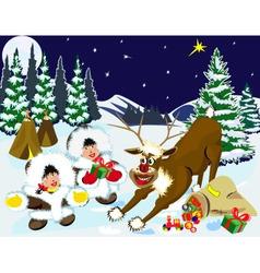 children and reindeer vector image
