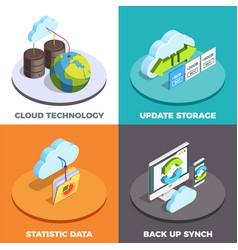cloud service concept isometric composition vector image