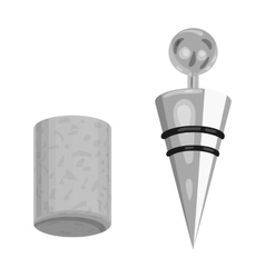 Corkscrew and cork icon in monochrome style vector
