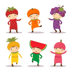 Cute kids in fruit costumes set 1 vector