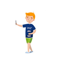 cute redhead boy making selfie photo cartoon vector image vector image
