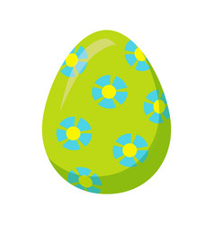 Easter egg with blue flowers isolated vector