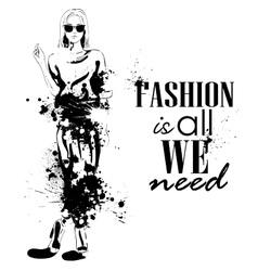 fashion look girl with splashes vector image vector image