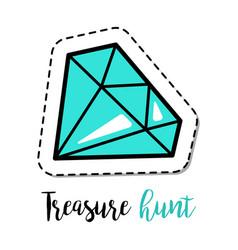 fashion patch element blue gem stone vector image