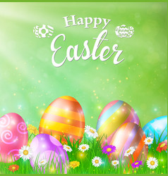 happy easter card with eggs grass flowers vector image